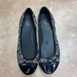 Black and white coach flats